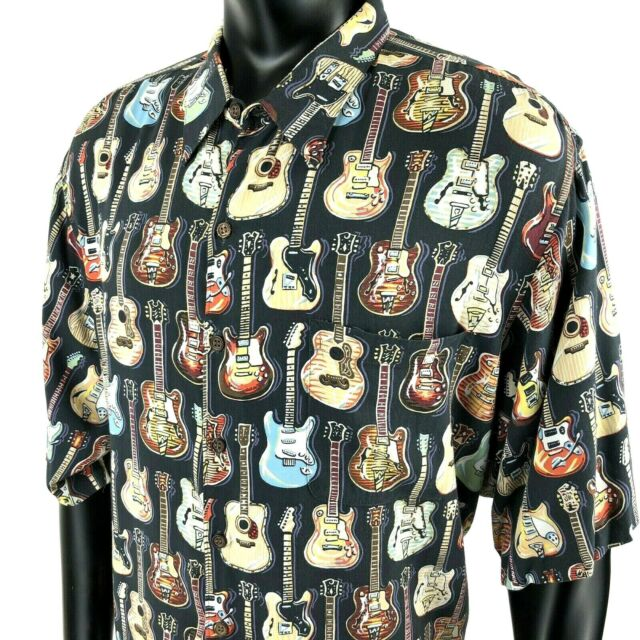 Reyn Spooner Art of Eddy Y Guitars Hawaiian Black Rayon Camp Shirt Mens 3XL