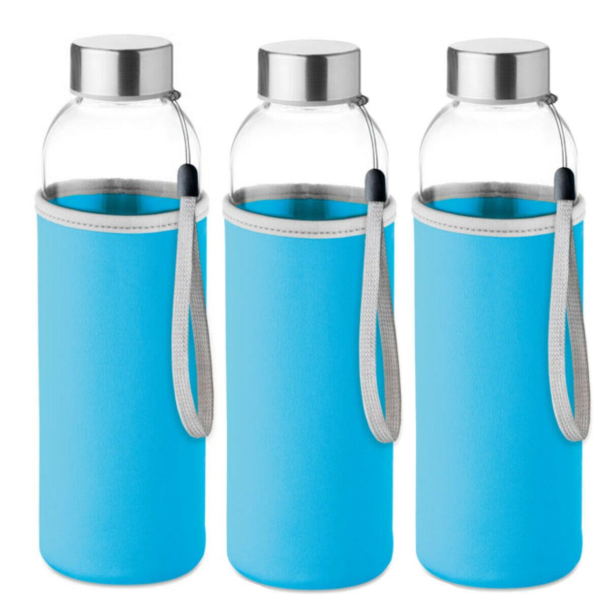 3 Botellas azules de cristal con funda de neopreno 500 ml deportes y aire libre