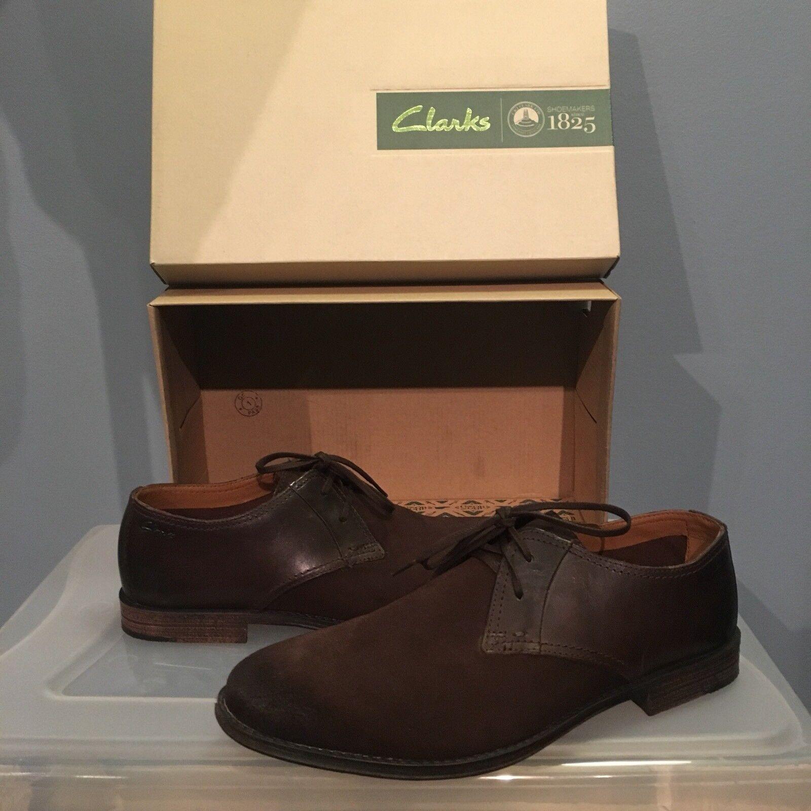 Clarks Bostonian Hawkley Walk US 9 New Mens Oxford Dress Casual shoes Dark Brown