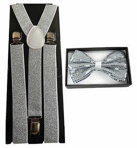 d363ee5c79a Image is loading Silver-Glitter-Suspenders-amp-Silver-Sequin-Shiny-Bow-
