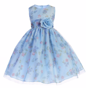 Precious Blue Chiffon Flower Girl Party Pageant Dress Crayon Kids USA