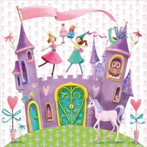 4 Single paper decoupage napkins Princess Castle.Girl/'s design Pink-154