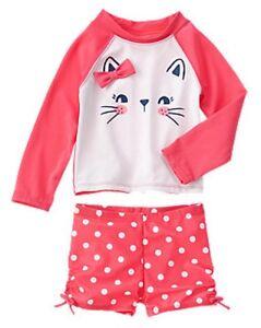 NWT Old Navy Good Vibes Kitty Cat Watermelon Rashguard Swim Set Swimsuit 3 4 5