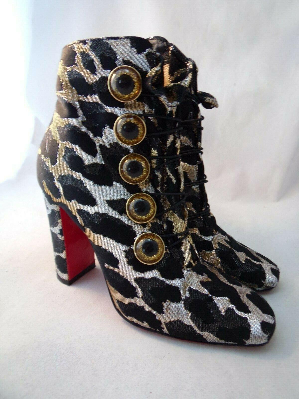 Christian Louboutin 35.5 Dama ver Negro oro Lurex Leopardo botas Botín