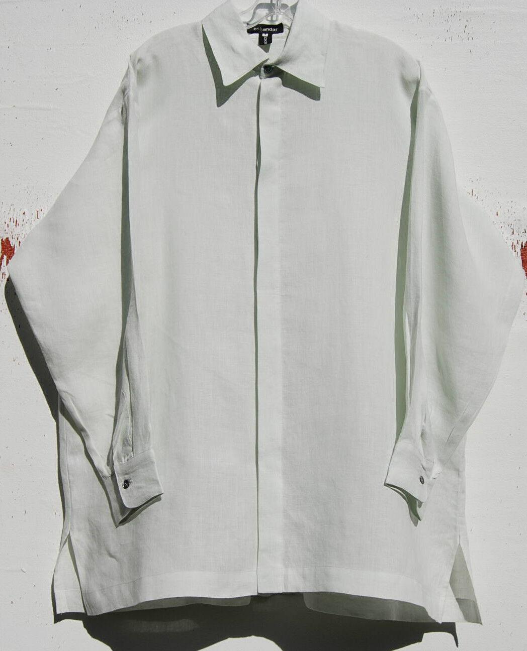 Nuevo Eskandar Bergdorf Goodman verde Menta Lino  clásico de cuello túnica súperior (1)  895  ventas en línea de venta