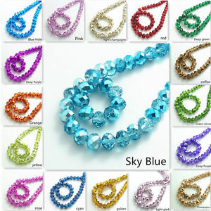 Lot-Colourful-Rondelle-Faceted-Crystal-Glass-Loose-Spacer-Beads-4mm-6mm-8mm-10mm