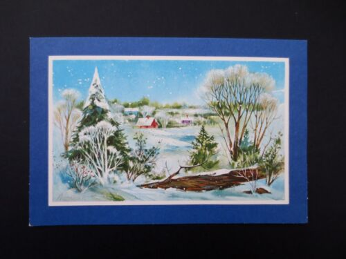 # J201 Vintage Mid Century Glittered Winter Landscape Christmas Greeting Card