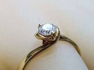 18ct GOLD SOLITAIRE DIAMOND ENGAGEMENT RING.SIZE N. .33TCW.   Ref:BCod