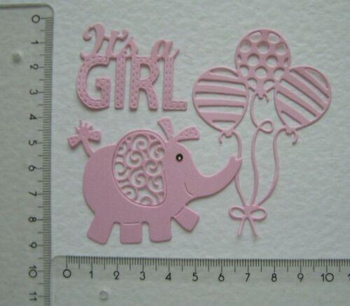 I/'ts a GIRL Kartenschmuck Stanzteile Geburt Baby b64 Elefant mit Luftballons