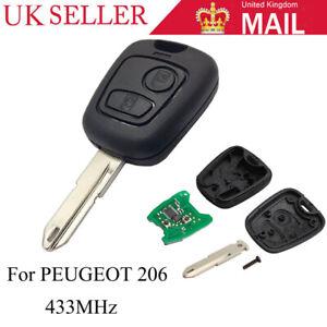 FOR PEUGEOT 206 REPLACE REMOTE KEY FOB 433MHz /& Transponder Chip /& UNCUT BLADE