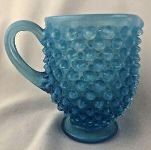 Vintage-Fenton-Blue-Opalescent-Glass-Hobnail-Creamer