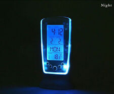 Digital Clock Study Table Clock Alarm Timer Blue Led Temperature Glow Calendar