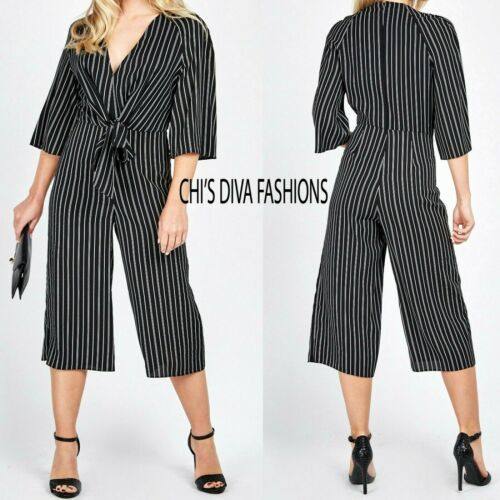 10,12 EX MISS SELFRIDGE Tie Front Stripe Culotte Jumpsuit  UK 8 14 16