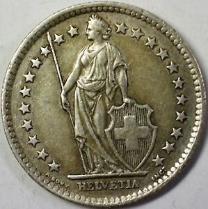 1958-B-Switzerland-2-Francs-Average-Circulated-Helvetia-Silver-Coin
