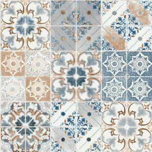 Details About Valence Tuile Papier Peint Fleur Metalique Marocain Bleu Orange Debona 5011