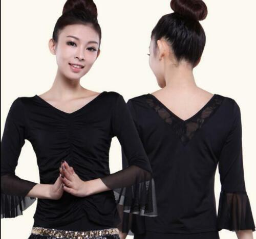 Womens Top Latin salsa cha cha tango Ballroom Dance Tops Slim Tee Shirts S-5XL