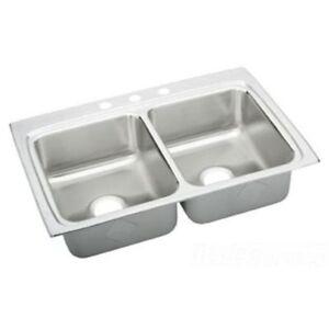 ... Steel Sink - Model # LRAD3322603 - Double Bowl Top Mount Sink eBay