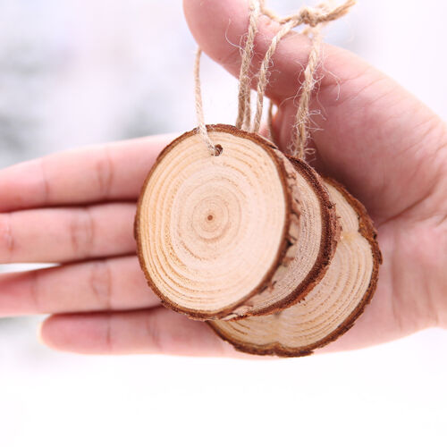 10-100pcs DIY Wood Log Slices Discs with Holes for Xmas Party Hanging Ornaments