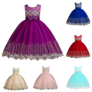 Princess-Kids-Girls-Tulle-Flower-Dress-Wedding-Bridesmaid-Party-Ball-Prom-Gown