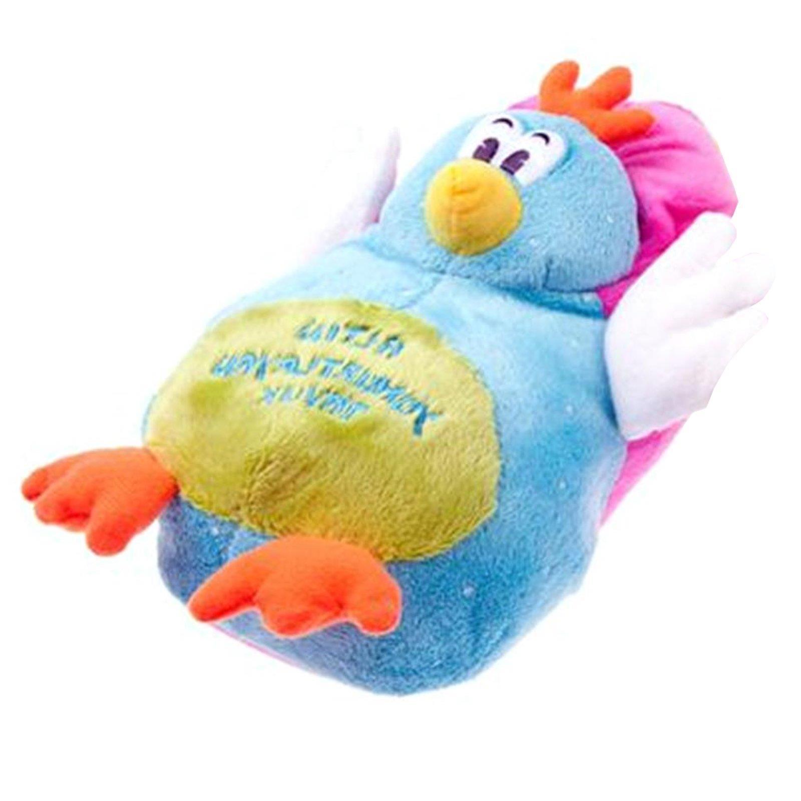 Kücken Huhn Tier Hausschuhe Pantoffel Puschen Schlappen Plüsch Damen Blau 36-41