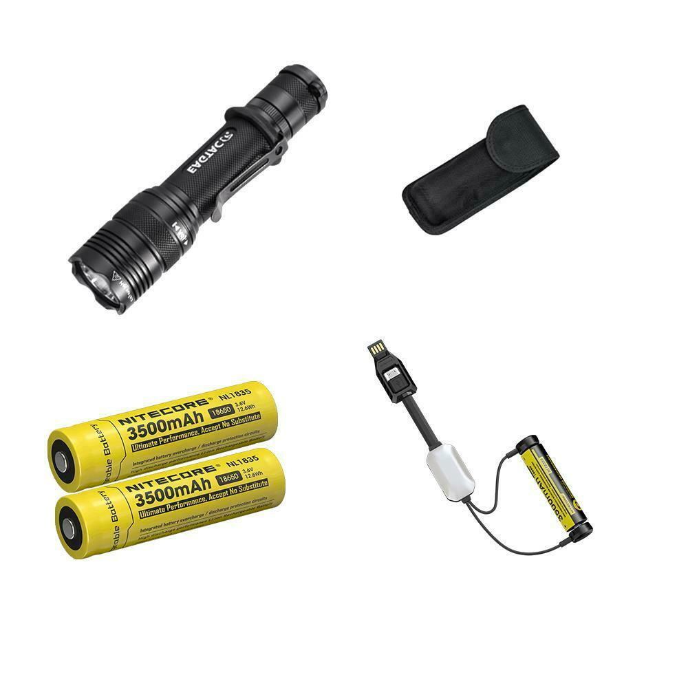 Combo  Eagletac T200C2 XM-L2 LED Flashlight - 1277 Lumens w 2x 3500mAh 18650 & L