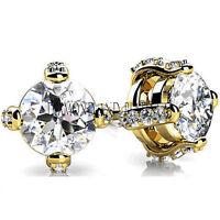 1.20 carat total Round cut Diamond Stud Earrings 14K Yellow Gold G, SI1 clarity