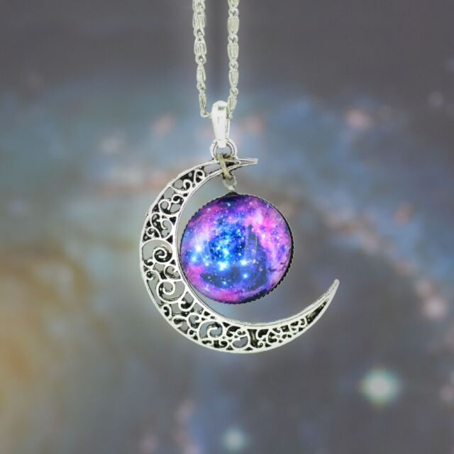 Creative Necklace Galaxy Space Nebula Sun Celestial Moon Pendant 12 Styles