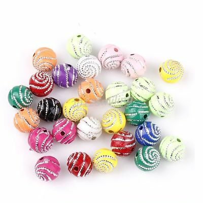Wholesale 200pcs Mixed Color Acrylic Spiral Spacer Loose Spiral Beads 10mm