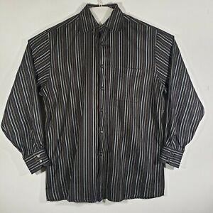 John-W-Nordstrom-Mens-Button-Down-Shirt-Long-Sleeve-Large-Striped-100-Cotton