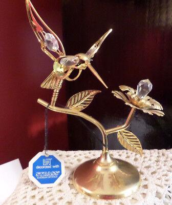 Hummingbird Suncatcher Figurine Strass Swarovski Austrian Crystals 22K goldplate