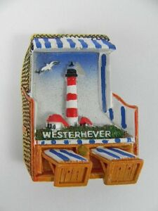 Strandkorb-Magnet-WESTERHEVER-Leuchtturm-Poly-3D-Souvenir-Germany-Neu