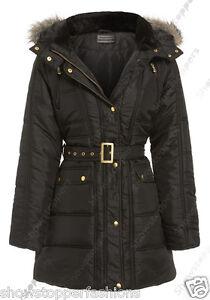 NEW-PADDED-Womens-HOODED-PUFFA-COAT-Ladies-Jacket-Size-8-10-12-14-16-Parka-Black