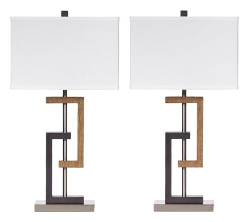 Ashley Furniture Signature Design L405284 Syler Table Lamp Set of 2 Brown Silver