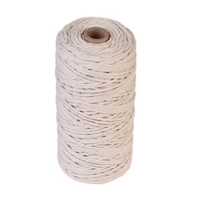 100m 100% Natural Beige Cotton Twisted Cord Crafts Macrame Artisan String DIY