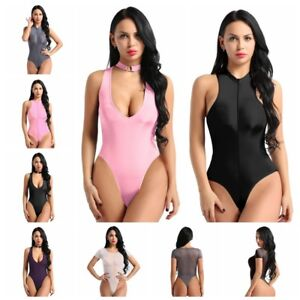 bd30b1d5b3aa Image is loading Sexy-Womens-Sheer-Necklace-Collar-Thong-Leotard-Bodysuit-