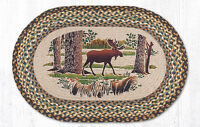 Braided Hand Stenciled Oval Patch Rug By Earth Rugs--moose Forest