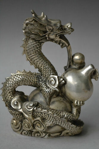 Collectable Chinese Silver Copper Handwork Carved Lifelike Dragon Statue NR