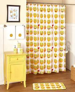 Image Is Loading Smiley Face Emoji Shower Curtain Hooks Emoticon Funny