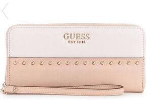 Details zu Guess Kamryn Wristlet Wallet Purse Zip Clutch Studded Pink White