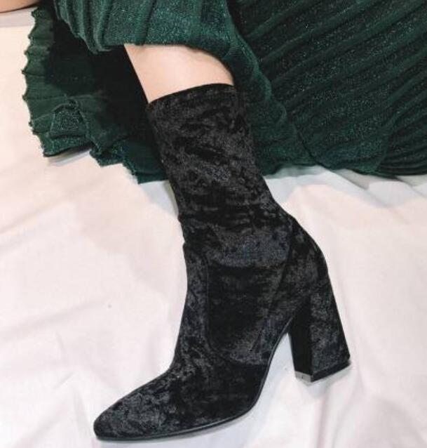 Terciopelo bordado Puntiaguda para mujer Puntera Puntiaguda bordado Mitad de Pantorrilla botas Grueso Tacón Alto Zapatos Talla fd64b7