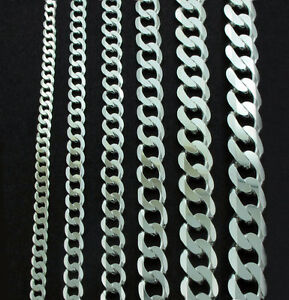 STERLING-SILVER-CURB-CHAIN-BRACELET-FLAT-LINK-NECKLACE-LADIES-GENTS-GIFT-BOX-925