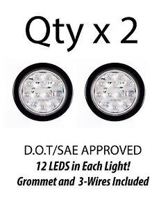 4 inch white 12 led round backup tail truck light w grommet rh ebay com Truck Trailer Wiring for Lights wiring led truck bed lights