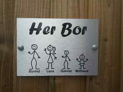 Norwegian Door Plaque Personalised Stick Family House Name/Number Door Sign. B
