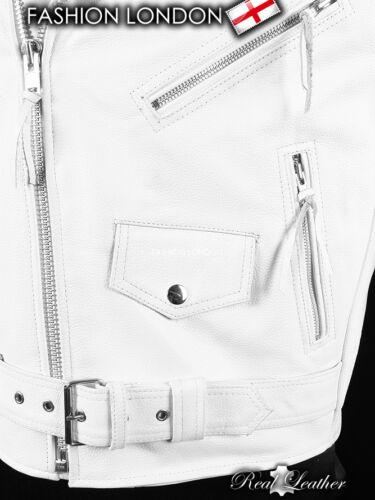 BRANDO White Men/'s Biker Motorcycle Motorbike Cruiser Cowhide Leather Jacket