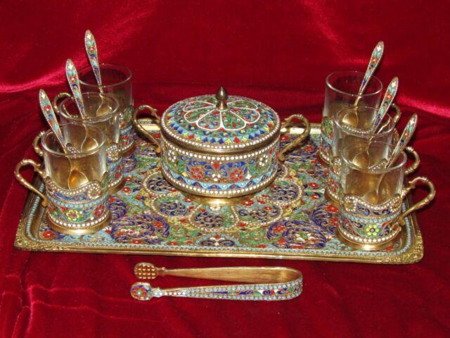 Antique Qajar Rasht Mina Persian Enamel Silver Tea Set Russian Cloisonne Gilt