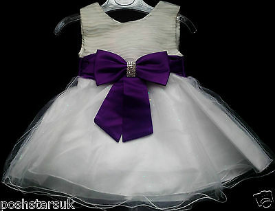 Cadbury Purple Flower Girl Bridesmaid Communion Prom Wedding Party Dress 2-13y