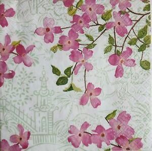 Detalles De 4 X Decoupage Paper Napkins Blossoming 4 Servilletas Decoradas Flores Asia