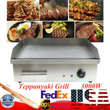 3000w Commercial Electric Countertop Griddle Grill Bbq Flat Plate Top Restaurant