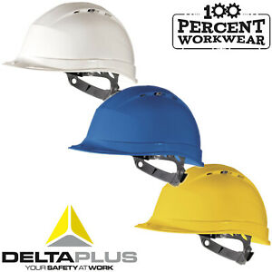 Pro-Builders-Construction-Engineers-Delta-Plus-Vented-Safety-Helmet-Hard-Hat-New