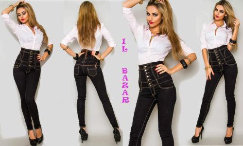 44; 46 Jeans Taglie Elasticizzato Nero 40; Vita Altissima Stringato 42; wF8wa